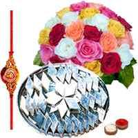 1 Kg. Kaju Katli and 24 Mixed Roses Bouquet with Free Rakhi, Roli Tika, Chawal