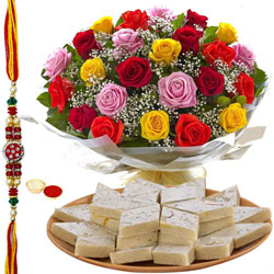 Tasty Kaju Katli and 24 Mixed Roses Bouquet Gift Set with Free Rakhi, Roli Tika, Chawal for your Dear Brother