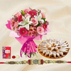 Kaju Katli and Seasonal Flowers Bouquet with Free Rakhi