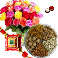 1 Kg. Assorted Dry Fruits with Bouquet of 24 Mixed Colour Roses with a free Rakhi