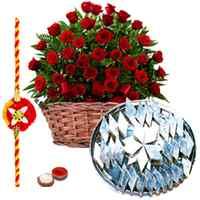 50 Red Roses with 500 gms Kaju Katli with Free Rakhi, Roli Tika, Chawal