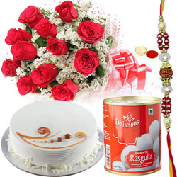 Lovely Gift Pack of Red Roses, Rasgulla and Cake with free Rakhi, Roli Tilak and Chawal for your Caring Brother
