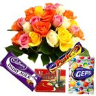 Splendid assorted Roses and yummy Cadburys Chocolate