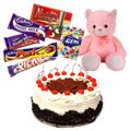Buy Black Forest Cake, Assorted Cabdury Chocolates n Teddy Online