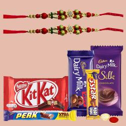 Assorted Chocolates with 2 Designer Rakhi