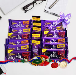 Assorted Cadbury Chocolates with Twin Rudraksha Rakhi