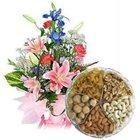 Glorious Seasonal Flowers along with tasty Dry Fruits