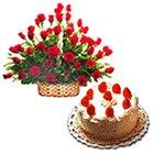 Order Online Arrangement of Red Roses with Black Forest Cake