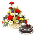 Online Book Carnations N Gerberas Basket with Chocolate Cake
