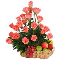 Online Fruits N Roses Basket