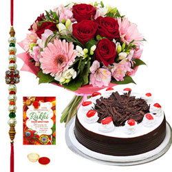 Dazzling Rakhi Gift Pack of Beautiful Floral Arrangement, Fresh Baked Cake and Card with Free Rakhi, Roli Tilak and Chawal for your Dear Brother<br>