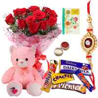 12 Red Roses Bouquet with a Cute Teddy and Assorted Cadburys Chocoloates With 1 Free Rakhi