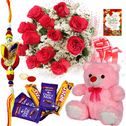 Enthralling Combo Gift of Cute Teddy, Assorted Cadbury Chocolates N Red Rose Bunch with Free Rakhi, Roli Tilak and Chawal for Special Rakhi Festival