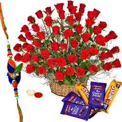 Wonderful Collection of Assorted Cadbury Chocolates and Red Roses Bunch with Rakhi, Roli Tilak and Chawal for Raksha Bandhan Celebration