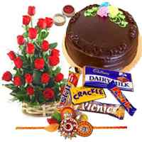 Red Roses, Fresh Cake with Assorted Chocolates and 2 Rakhi