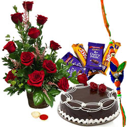 Astonishing Rakhi Gift Set of Assorted Chocolates, Fresh Cake and Bunch of Red Roses with 2 Rakhi and Free Roli Tika and Chawal for your Dear Ones