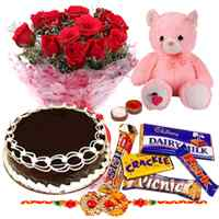 1 Rakhi with   Red Roses, Chocolate Cake, Assorted Cadbury Chocolates and Teddy Bear with Chawal and Roli.