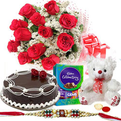 Eye-Catching Assortments of Soft Teddy, Roses, Cake and Cadbury Chocolates with Free Rakhi, Roli Tika and Chawal for your Younger Brother