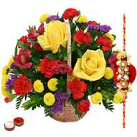 Roses and Seasonal Flowers Basket with a Free Rakhi