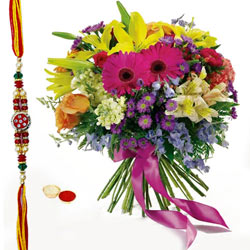 Beautiful Rakhi Wishes Bouquet of Roses and Seasonal Flowers with free Rakhi, Roli Tika and Chawal for your Dear Brother