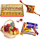Assorted Cadburys Chocolates with Kaju Katli, Fresh Fruit Basket,1 Free Rakhi, Roli Tilak and  Chawal