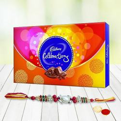 Yummy Pack of Cadbury Celebration Chocolates with Rakhi, Roli Tilak and Chawal for your Dear Brother