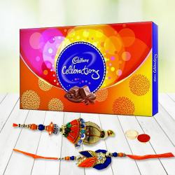 Yummy Collection of Cadbury Celebration Pack with Pair Rakhi Set, Roli Tilak and Chawal for your Sweet Bhaiya Bhabhi
