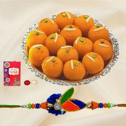Delectable Pure Ghee Laddoo with Rakhi Roli Tika and Chawal for Special Rakhi Festival
