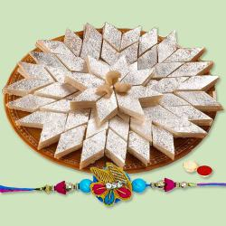 Ravishing Gift of Kaju Katli with Rakhi, Roli Tika and Chawal for your Loving Brother