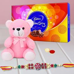 Mind-Blowing Present of Cadbury Celebration Chocolate and Sweet Teddy Bear with Free Rakhi, Roli Tika and Chawal for Rakhi Celebration