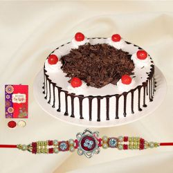 Delectable Black Forest Cake Gift with Rakhi and Free Roli Tika N Chawal for your Dear Brother