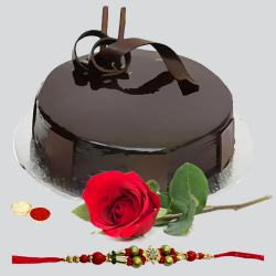Delicious Chocolate Cake and a Fresh Red Rose with Free Rakhi Roli Tilak and Chawal