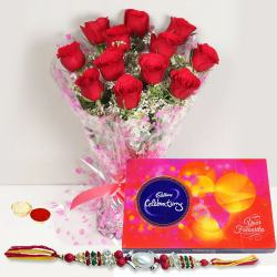 Designer 12 Red Roses Arrangement and Cadbury Celebration Chocolates Pack with Free Rakhi, Roli Tilak and Chawal for your Loving Brother