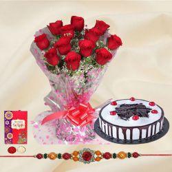 Wonderful Rakhi Celebration Gift of Red Roses and Black Forest Cake with Rakhi Roli Tilak and Chawal