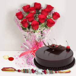 Exquisite Arrangement of Red Roses and Delicious Eggless Cake with Rakhi Roli Tika and Chawal for Rakhi Celebration