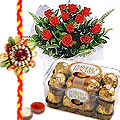 Rakhi with  Red Roses n Ferrero Rocher Box