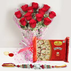 Ravishing Display of Red Roses Bunch and Delicious Soan Papri with Rakhi Roli Tika and Chawal for your Caring Brother