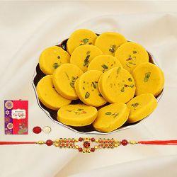 Delicious Kesar Pedas with Rakhi Roli Tilak and Chawal on the Occasion of Raksha Bandhan