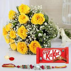 Glamorous Bunch of Yellow Roses and Kitkat Chocolate Pack with Rakhi Roli Tika and Chawal for your Younger Brother