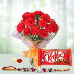 Exclusive Arrangement of 12 Red Carnations and Kitkat Chocolate Pack with Rakhi Roli Tilak and Chawal for the Occasion of Raksha Bandhan
