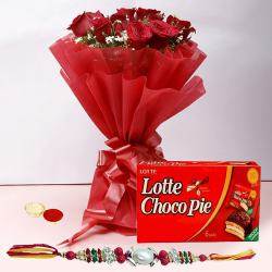 Rakhi with 12 Red Roses and Choco Pie Box