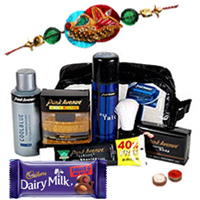 Dazzling Gift Hamper from Park Avenue for Men with Free Rakhi, Roli Tilak and Chawal for your Dear Brother