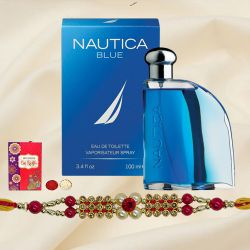 Fabulous Gift of Nautica Blue Perfume for Gents with Rakhi Roli Tilak and Chawal for the Occasion of Rakhi