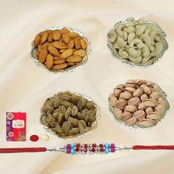 Attractive Arrangement of Mixed Dry Fruits in Silver Plated Bowls with Free Rakhi, Roli Tilak and Chawal for Rakhi Celebration