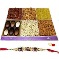 Lavish Zealousness Dry Fruit and Chocolate Collection with One Rakhi and Roli Tilak Chawal