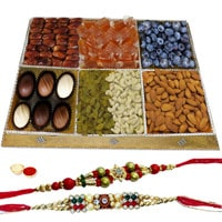 Enriched Diet Dry Fruit and Chocolate Platter with Two Rakhis and Roli Tilak Chawal