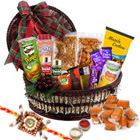 Heavenly Whiles Gourmet Assemblage with One Rakhi and Roli Tilak Chawal