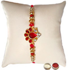 Mesmerizing Collection of Diamond Kundan Rakhi Gift with Free Roli Tika and Chawal for your Caring Brother