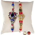 Beautiful Diamond Kundan Rakhi (2 Pcs) with Free Roli Tika and Chawal on the Occasion of Rakhi