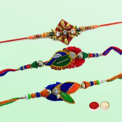 Traditional Display of Three Diamond Kundan Rakhi with Roli Tilak and Chawal for your Loving Brother